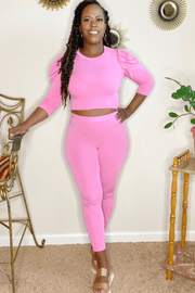 lee monet Puff Sleeve Crop Chill Set (Pink)