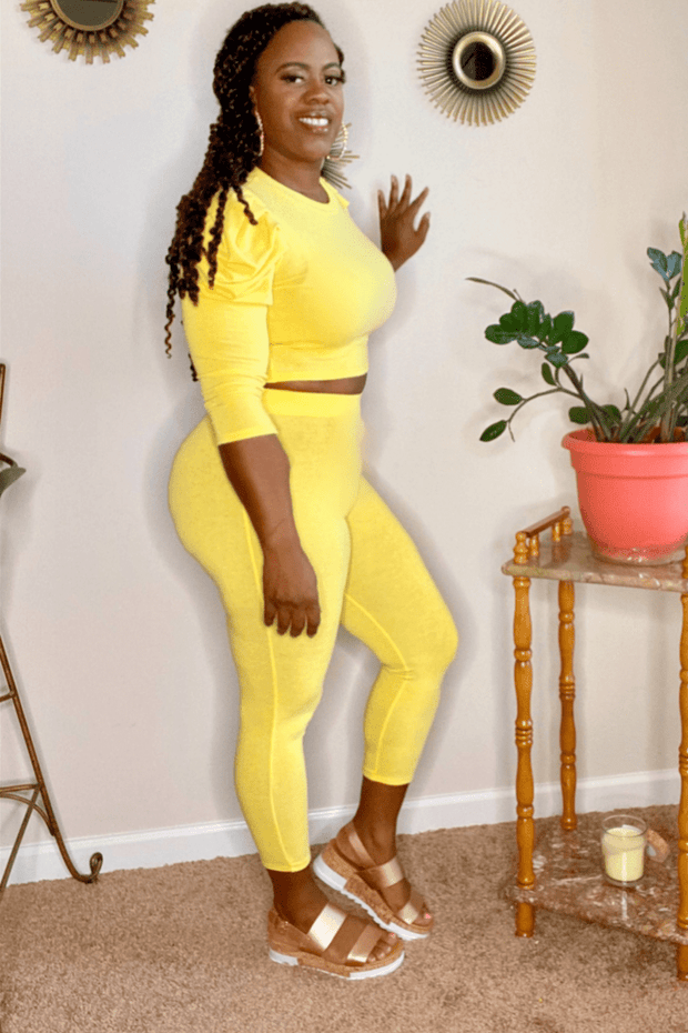 lee monet Puff Sleeve Crop Chill Set (Yellow)