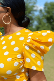 lee monet Puff Sleeve Polka Dot Top- Yellow