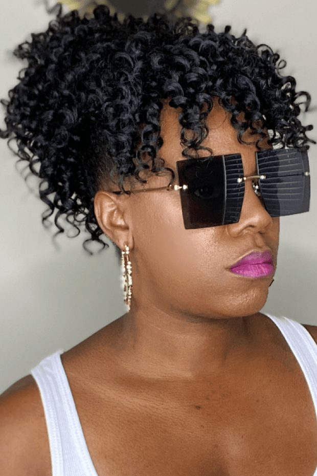 lee monet Rimless Oversized Square Sunglasses- Black