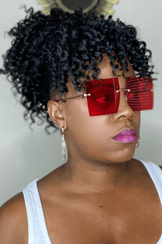 lee monet Rimless Oversized Square Sunglasses- Red