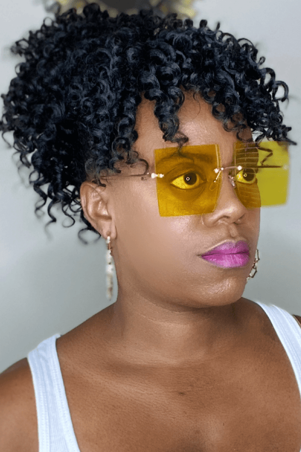 lee monet Rimless Oversized Square Sunglasses- Yellow