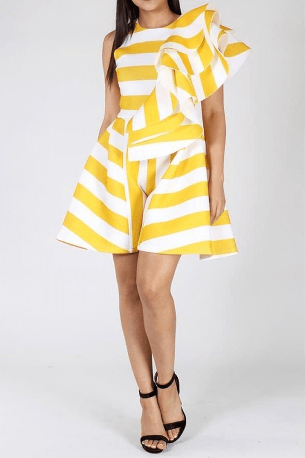 lee monet Romper Bomb Baby Yellow Striped Romper- Final Sale