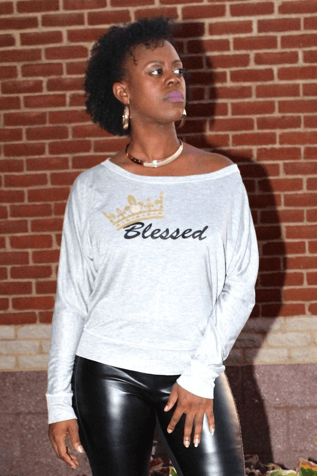 lee monet Sale Blessed Off the Shoulder Tee