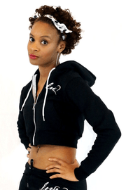lee monet Sale Logo Black Crop Zip Hoodie
