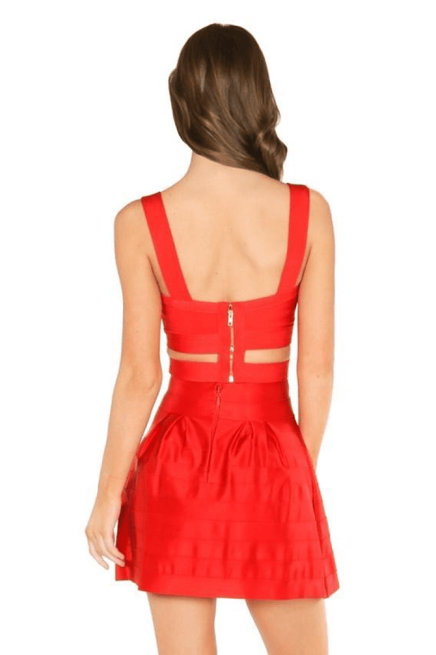 lee monet Sets Vanity Red Bandage Skirt Set