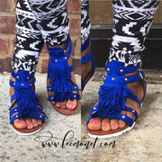 lee monet Shoes 6 / Blue Amiya Blue Gladiator Sandal