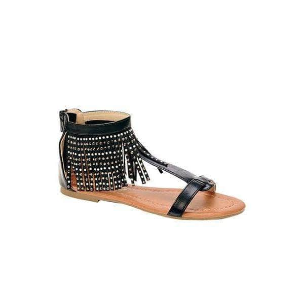 lee monet Shoes Black / 10 Native Black Fringe Gladiator Sandal