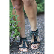 lee monet Shoes Native Black Fringe Gladiator Sandal