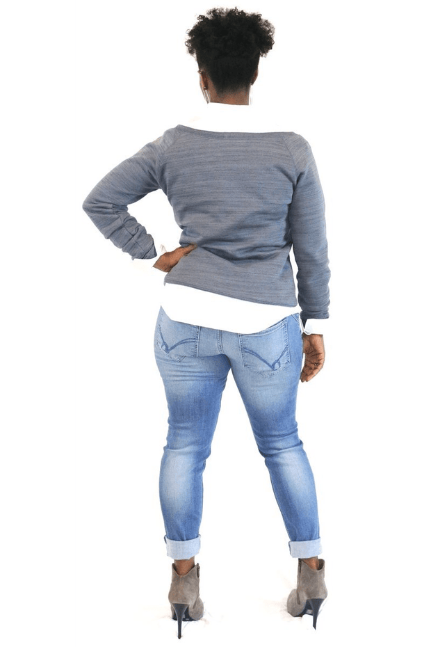 lee monet Tops Rosie Off the Shoulder Sweatshirt (Grey)