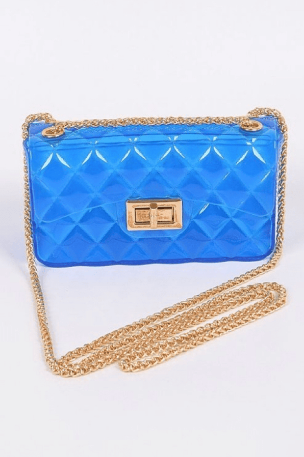 lee monet Translucent Jelly Mini Box Clutch- Cobalt