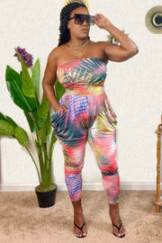 lee monet Tropical Print Tube Harem Jumpsuit