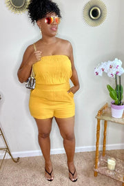 lee monet Tube Top Pocket Romper- Mustard