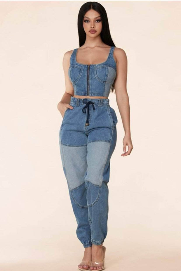 lee monet Two Tone Denim Jogger Set