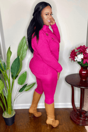 lee monet Wrap Asymmetrical Hem Sweater Set II- Hot Pink