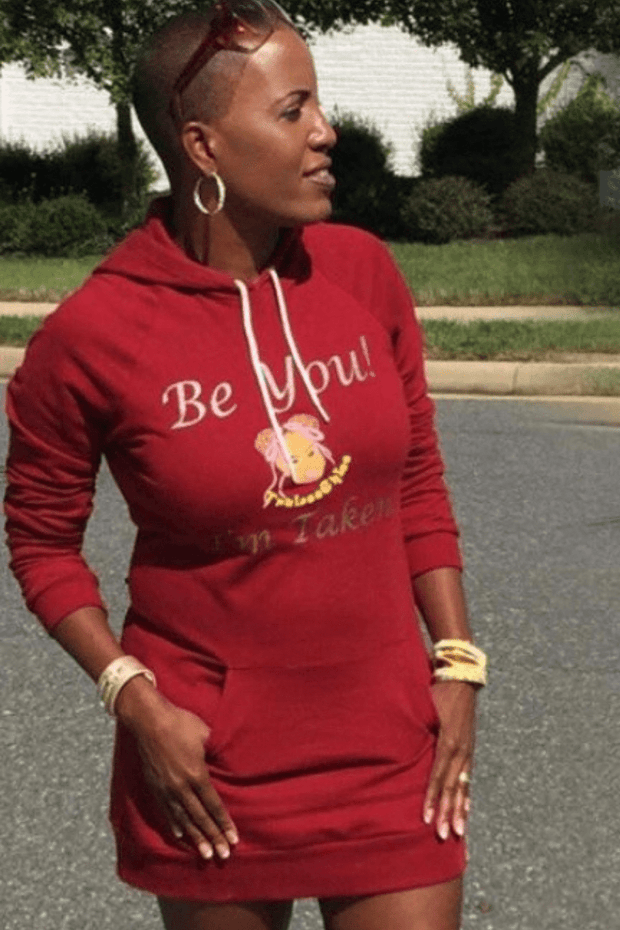 vendor-unknown Sale Cranberry / Fits All Be You Hoodie Sweat Dress- Cranberry