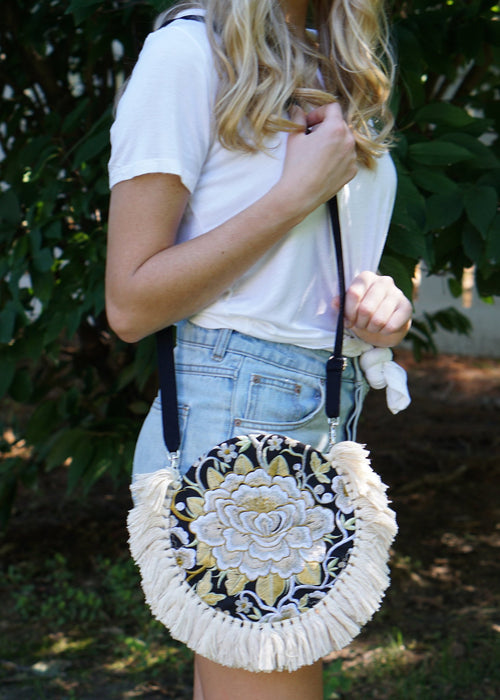 Cream Tassels Crossbody Bag