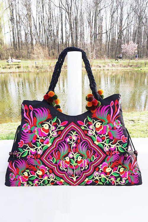 Multicolored Embroidered Tote