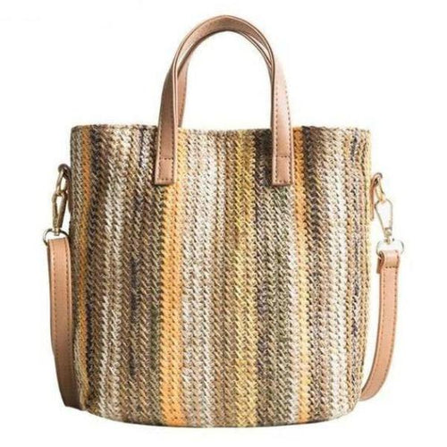 Multicolored Striped Straw Tote