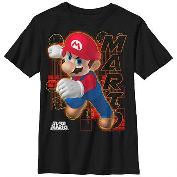 Mario Action Name Youth T-Shirt