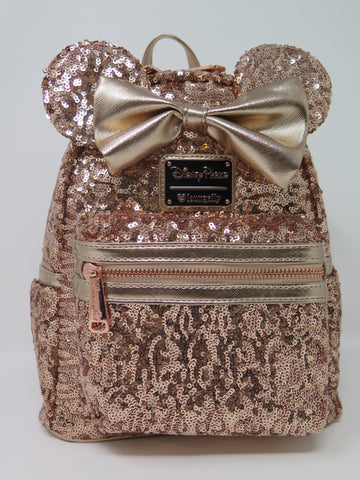 Disney Parks Loungefly Rose Gold Sequin Backpack