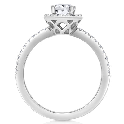 Halo Engagement Ring - Oval Center