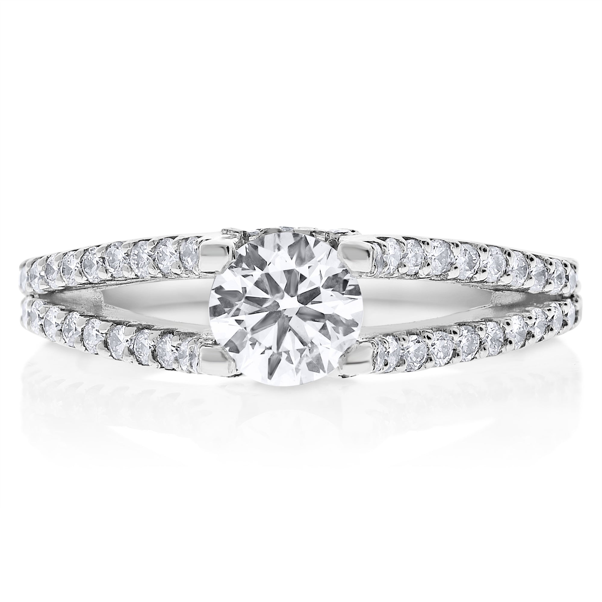 engagement double laying with band shank carat diamond certified ring in platinum cushion split front gia rings cut preset halo e