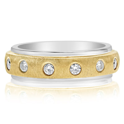 Seven Stone Inset Gents Ring - Two Tone