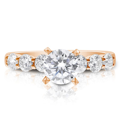 7 Stone Shared Prong Engagement Ring - 0.15 Carat Diamonds