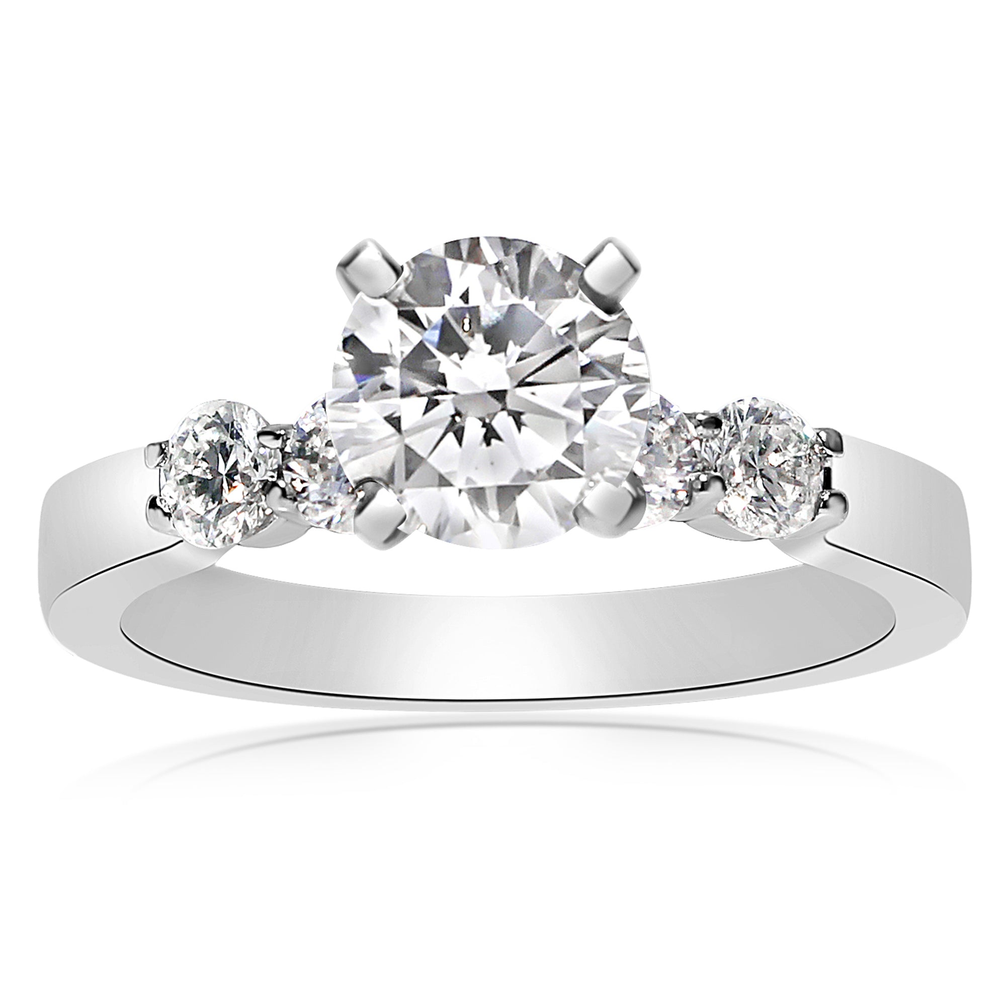 weddding wb nine round band pave stone shared in brilliant engagement white prong rings diamond wedding gold platinum