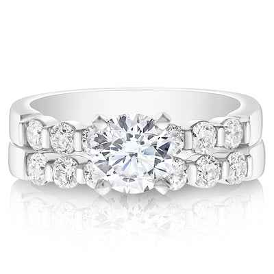 7 Stone Bar Set Engagement Ring - 0.07 Carat Diamonds