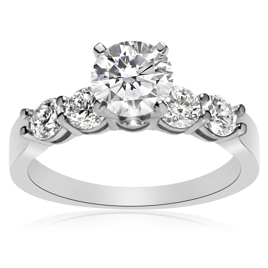 5 Stone Shared Prong Engagement Ring - 0.20 Carat Diamonds