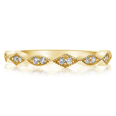 Marquise and Diamond Shaped Milgrain Band - Halfway Around