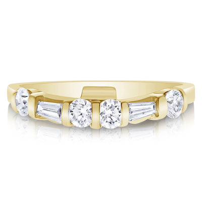 Tapered Baguette and Round Bridal Set