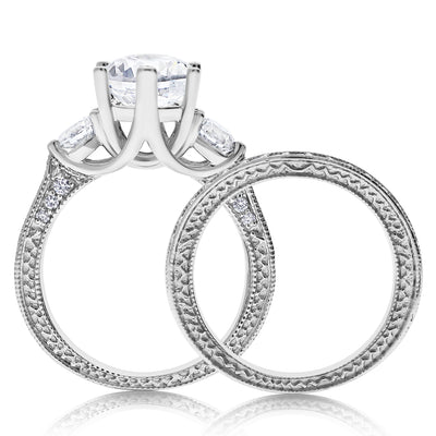 Blooming Three Stone Bridal Set