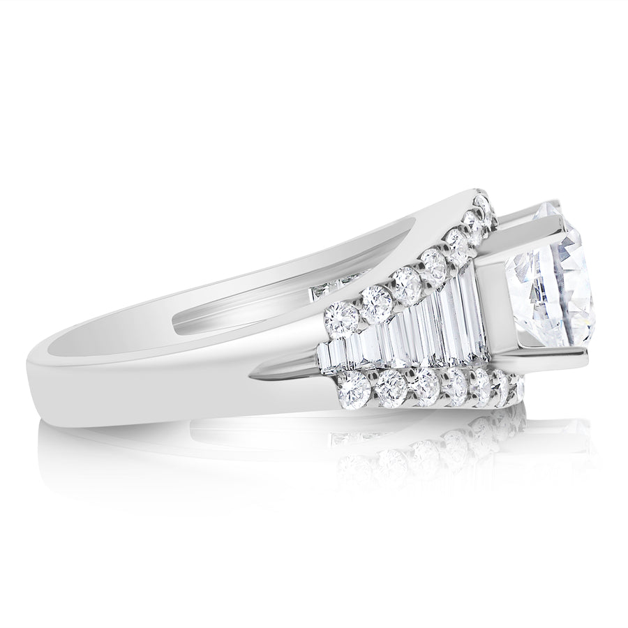 Step Cut Love Engagement Anniversary Ring
