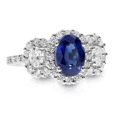 3 Stone Halo with Oval Shaped Center Engagement Ring