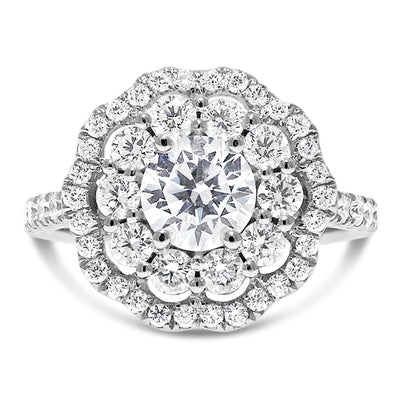 Grand Flora Halo Engagement Ring