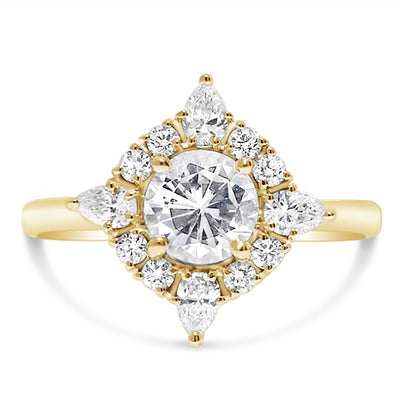 Pear Tipped Halo Engagement Ring