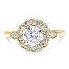 Half Bezel Flora Full Bloom Halo Engagement Ring