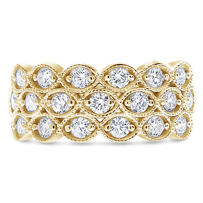 Three Row Marquise Shaped Milgrain Ring