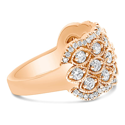 Grand Three Row Marquise Shaped Milgrain Ring