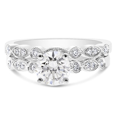 Marquise and Circle Milgrain Bridal Set