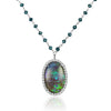 Black Opal and Diamond Pendant Necklace