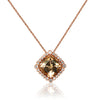 Morganite and Diamond Fluted Bezel Pendant Necklace