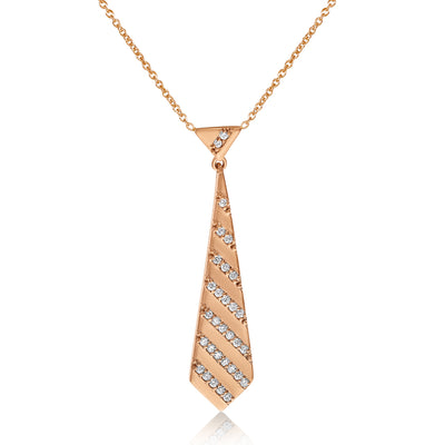 Diamond Striped Necktie Pendant with Cable Chain