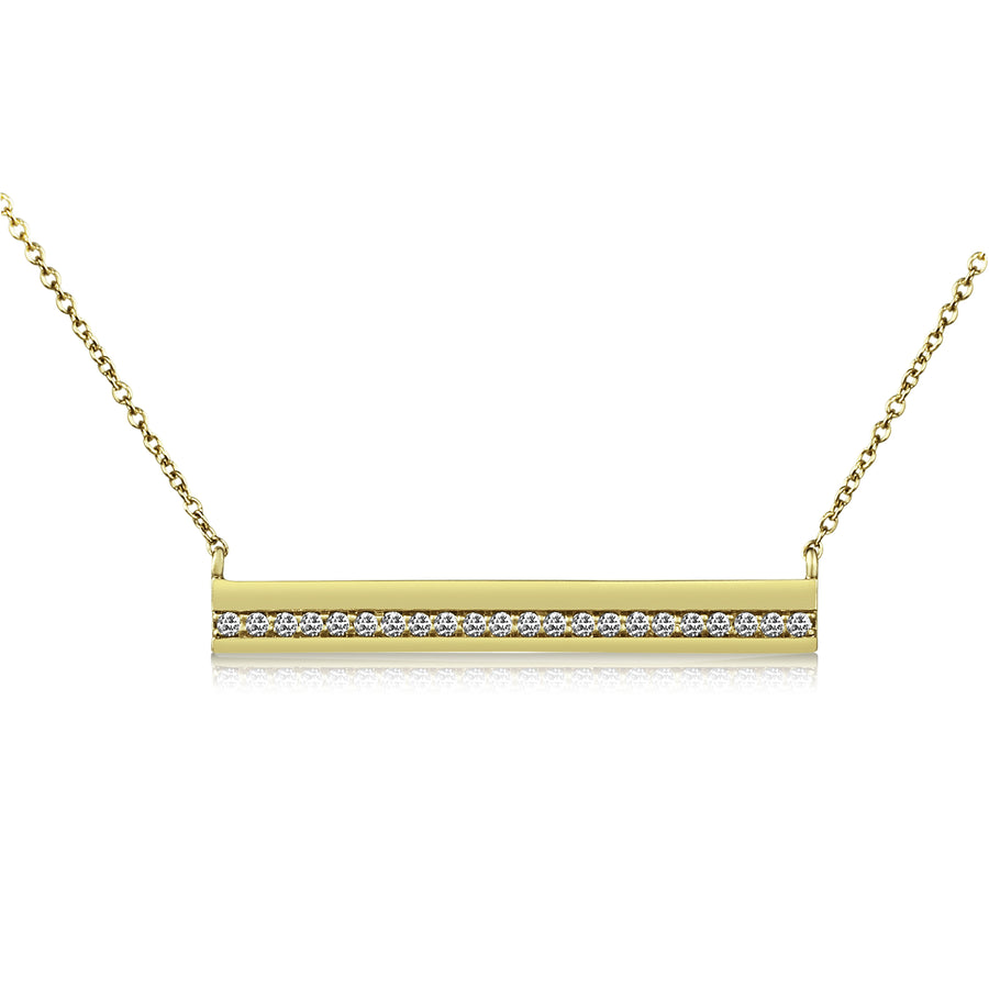 Diamond Striped Bar Necklace with Cable Chain