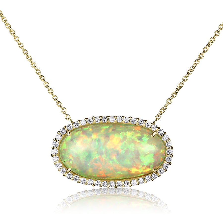 Stationary Opal Pendant Necklace