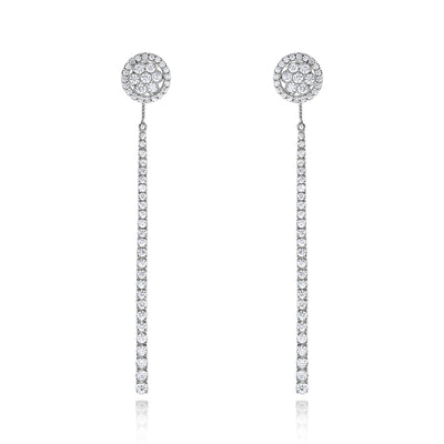 Cluster Halo Studs with Removable Diamond Drop Earrings Jacket