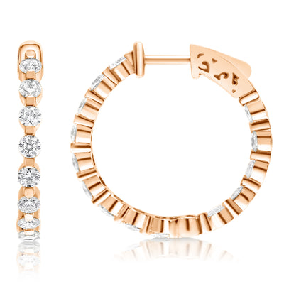 Single Prong Diamond Hoops - Circles with Lever Locks